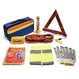 Kit di emergenza per auto TourKing, kit di guida di sicurezza 9 pezzi, strumenti triangolo di emergenza, fune di traino, kit di assistenza stradale di sicurezza automatica