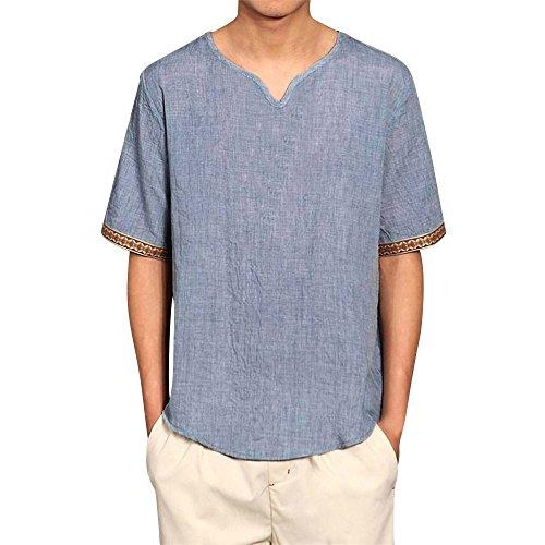 Weant camicia uomo camicie lino maniche corte t-shirt top pullover estive allentata traspirante camicetta maniche lunghe morbida collare stand standar polo camicetta moda m-5xl (blu, xxxl)