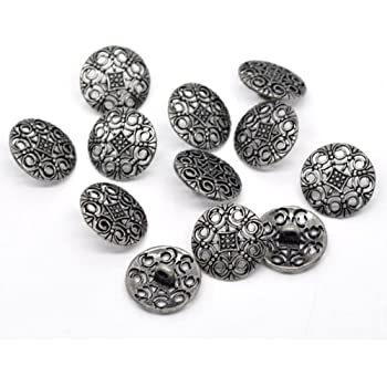 Six Tree Patterned Buttons Size 15mm