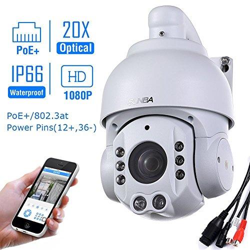 SUNBA 1080P HD, 4.7 ~ 94.0mm, 20X Optischer Zoom, 2.0 Megapixels, IR-Cut Nachtsicht, Wasserdicht,Im Freien PTZ IP Netzwerk ÜberwachungKamera mit ONVIF (507-20XB - Im Freien Poe-ptz