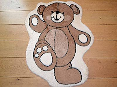 Dancing Bear Non Slip Machine Washable Sheepskin Style Kids Rug. Size 93cm x 79cm - cheap UK light store.