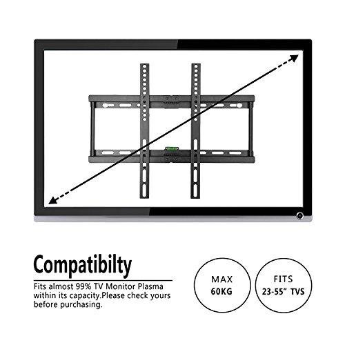 comprare on line Paladinz ultra slim supporto da parete per TV, supporto da parete per 23 - 55,7 cm Samsung LG Sony Sharp LED LCD Plasma Full HD 1080p 3D 4 K Smart TV max VESA 400 x 400, capacità 95 kg (94,8 kilogram), livella inclusa prezzo
