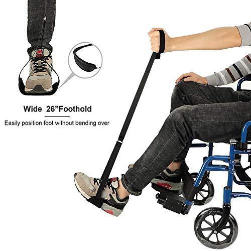 Wood.L Leg Foot Lifter Strap Verbesserte Starre Fußschlaufe Und Handgriffhilfen Für Ältere Menschen Heben Der Beine Gurte Für Autobett Couch Hüftersatz Und Rollstuhl Kindly