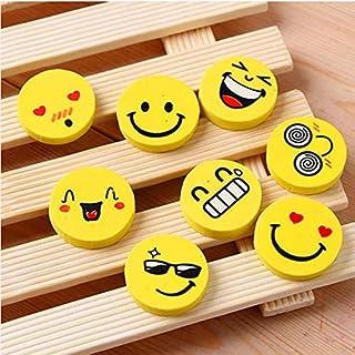 THREE 8 STÜCKE Emoji Geformt Gummi Radiergummi Niedlichen Cartoon Ausdruck Mini Radiergummi Schulbedarf Kinder Lernspielzeug, A