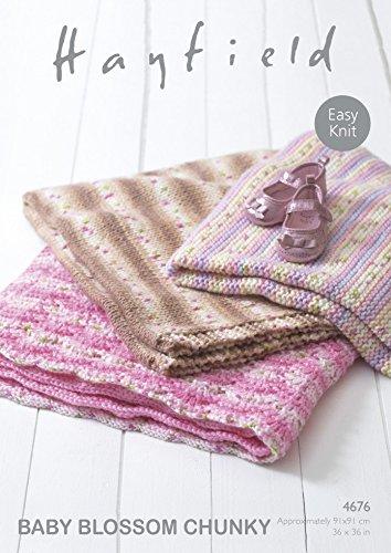 Sirdar Hayfield 4676Stricken Muster einfach Knit Baby Decken in Hayfield Baby Blossom Chunky -