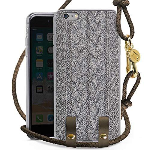 DeinDesign Apple iPhone 6 Plus Carry Case Hülle zum Umhängen Handyhülle mit Kette Wolle Look Stricken Muster
