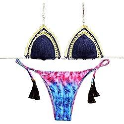 WanYang Mujeres Spaghetti Straps Trajes De Baño Bikini Push Up Sujetador Bañador Playa Traje De Baño
