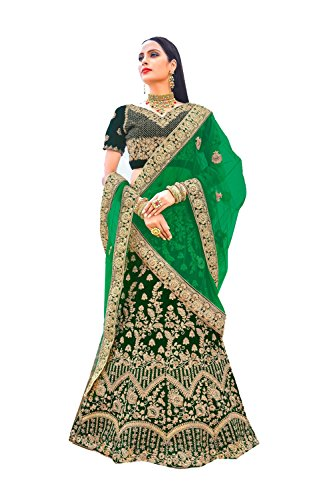 The Indian Fashions Indian Women Designer Partywear Ethnic Traditional Dark Green Lehenga Choli.