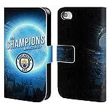 Head Case Designs Officiel Manchester City Man City FC Lune Bleue 2019 Champions Coque en Cuir à Portefeuille Compatible avec iPhone 4 / iPhone 4S