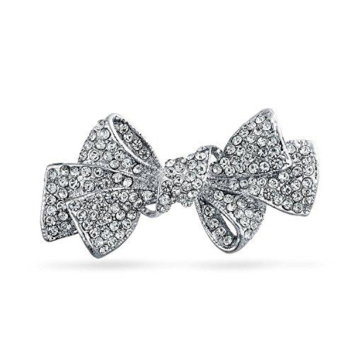 Bling Jewelry Mode Statement Ribbon Form Crystal Schal Bug Brosche Pin Für Damen Für Hochzeit Für Jugendlich Versilbertes Messing