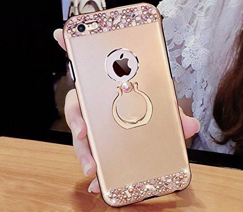 Glitter Étui Housse pour iPhone 7 / iPhone 8 (4.7 pouces) + [Support d'Anneau], Bonice Cristal Clair Miroir Cas Case avec 360 Degrés Rotation Bague, Luxe Bling Sparkle Strass Souple Soft Gel TPU Caout Paillette - Or