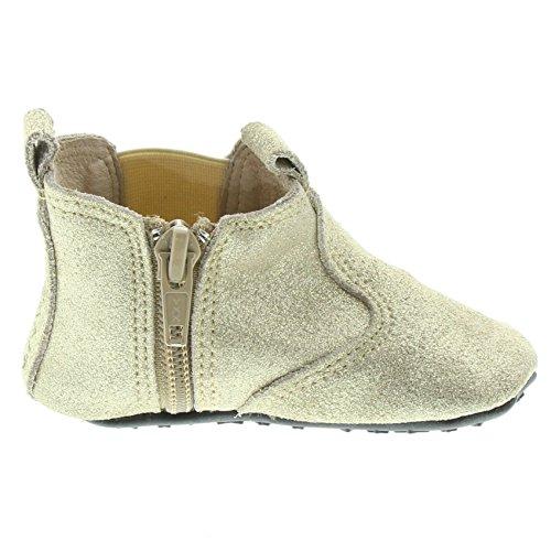 EnFant bébé mixte, chaussons boots zippés, cuir souple 08 Gold