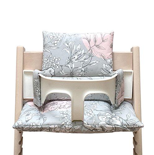 Blausberg Baby - Sitzkissen Kissen Set Polster (PU-beschichtet) für Stokke Tripp Trapp Hochstuhl - Blossom Grau Rosa Vogel -