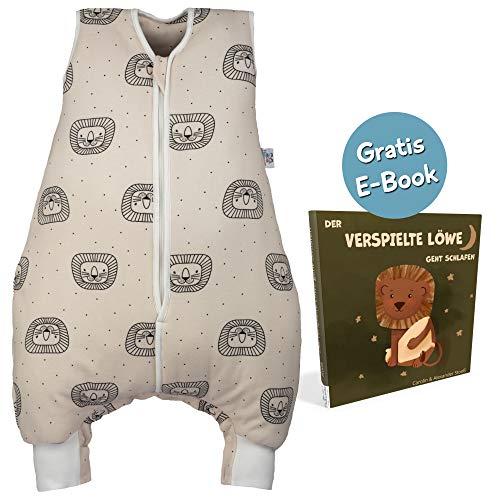 Hosenmax Babyschlafsack mit Beinen - Ganzjahres Schlafsack Baby - Verspielter Löwe Größe 80 cm - Gratis E-Book