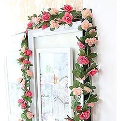 Houda Künstliche Rosenranken-Girlande, künstliche Blumen, für Zuhause, Hotel, Büro, Hochzeit, Party, Garten etc., Dekoration, 2,5 m, rose, 2er-Packung