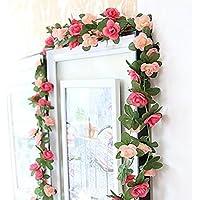Guirnalda de flores artificiales de vid Houda, con flores artificiales de 2,5 m, para casa, hotel, oficina, boda, fiesta, jardín, manualidades, decoración, Rosa, Pack de 2