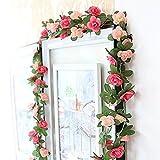 Houda Rose artificielle Guirlande de fleurs de vigne plantes 2,5m Fleur artificielle Faux Flowe Home Hôtel Bureau fête de mariage Jardin Craft Art Décor, rose, Lot de 2