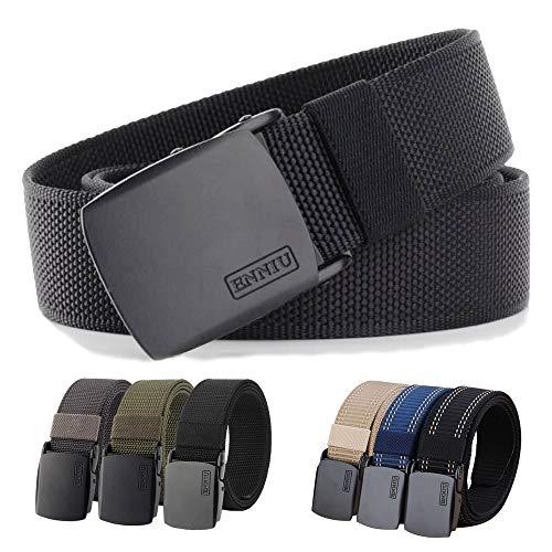 MUMUGO Cinturón táctico militar Hombres Hebilla metálica Espesar Cinturones de lona de nylon para hombres(Negro)
