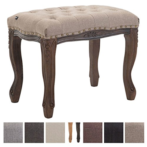 CLP Sitzhocker NEFERTITI mit Stoffbezug, Schminkhocker, Polsterhocker mit Holzgestell, Hocker in Chesterfield Design Taupe, Gestellfarbe: Antik