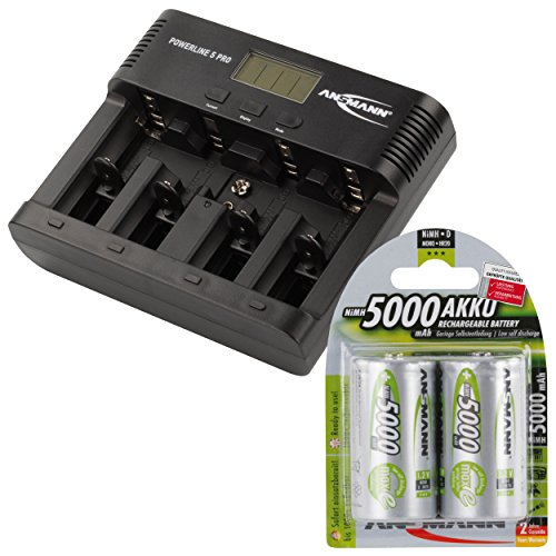 ANSMANN Akku-Ladegerät für AA/AAA/C/D/9V-Block NiMH Akkus - Batterieladegerät mit 5 Ladeprogrammen: Laden, Entladen, Testen, Refresh, Schnellladen + USB - Powerline 5 Pro + 2x 5000mAh Mono D Akkus