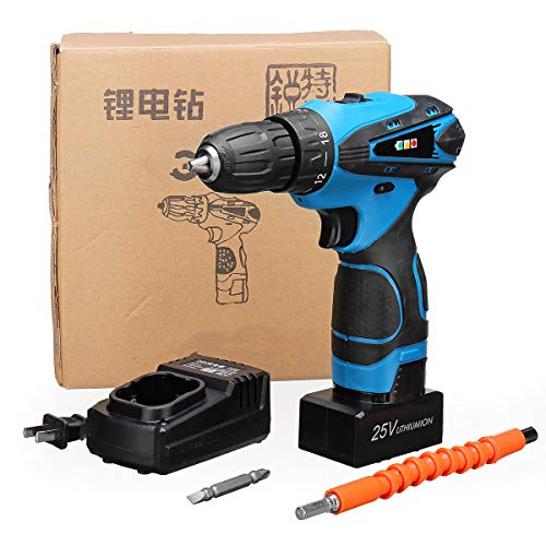 ExcLent 32 Gears Electric Drill 25V Cordless Electric Screwdriver Dual Speed Lithium Power Drills Tool - Variable Speed Cordless Drill