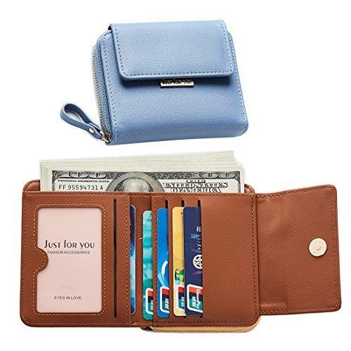 Portafoglio Donna Pelle Portamonete con Cerniera Ragazza Borsa Carina e Compatta Porta Carte Sacchetto Borsetta con Tasca Banconote Per viaggiare Blu