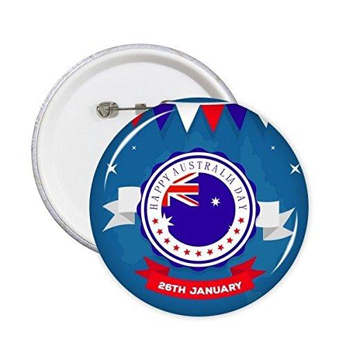 n Flavor glücklich Australia Day Flag Illustration Runde Stifte Abzeichen-Knopf Kleidung Dekoration 5Pcs XXL ()