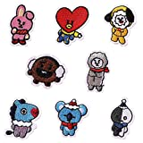 Yovvin Kpop Bangtan Boys BTS DIY Clothes Patch Stickers Cartoon Pattern Applique Or Sew on Patches for T-Shirt Jeans 8Pcs