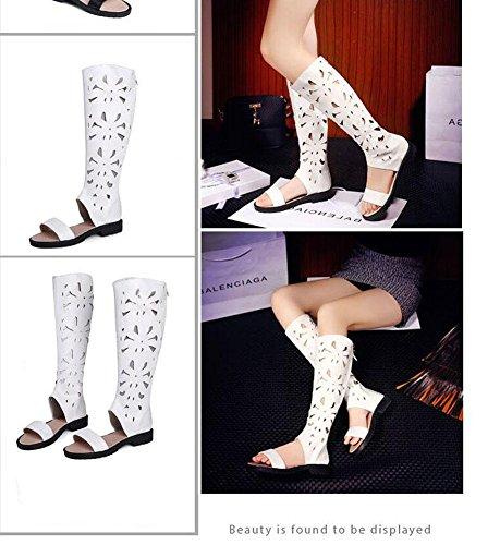 SHINIK Frauen Open Toe Sandalen PU Stoff High Stiefel Side Low Heel Schuhe Groß Größe Schuhe 40-43 White