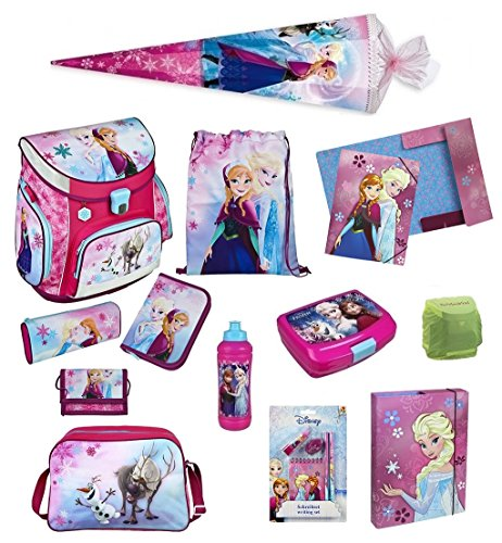 Disney`s Eiskönigin Schulranzen Set 17tlg. Sporttasche, Schultüte 85cm, Regen/Sicherheitshülle FRQA8252 (Campus-tüte)
