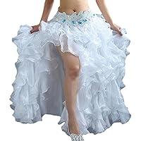 YuanDian Femme Couleur Unie Danse Du Ventre Haute Fente longue Jupe Costume  De Danse Orientale Professionnelle 25bb393a8f6