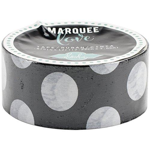 Heidi Swapp Marquee Tape Washi Cinta Adhesiva Lunares Negros, Papel de Arroz, 3x4x4 cm