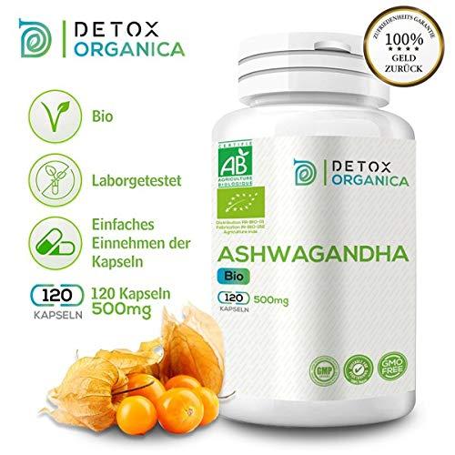 Detox Organica Ashwagandha Kapseln 500mg BIO // 120 Kapseln // Reines Bioprodukt in Spitzenqualität // Schlafbeere, indischer Ginseng und Winterkirsche -