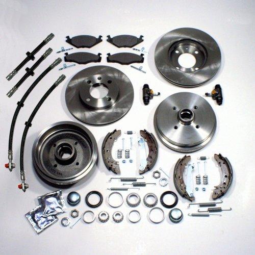 Bremsscheiben belüftet + Bremsbeläge vorne + Bremstrommeln + Bremsbacken + Radlager + Zubehör hinten + Bremsschläuche