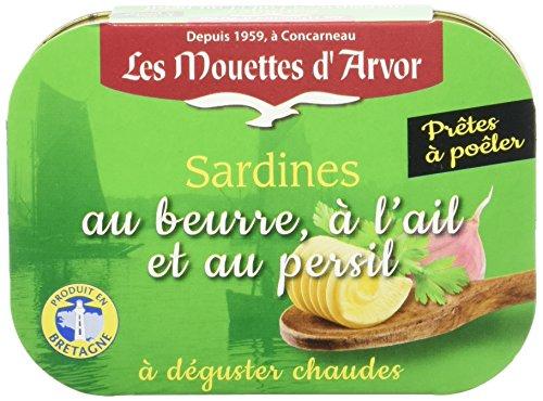 Les Mouettes d'Arvor Sardines au Beurre et Persillade 115 g - Lot de 5