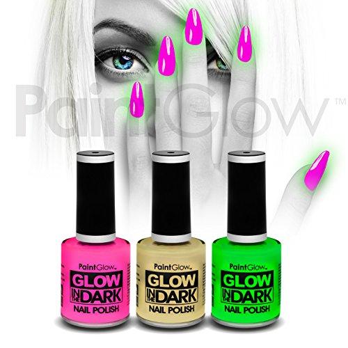 paintglow Glow in the Dark Nagellack (3Pack) Halloween UV Neon Reactive