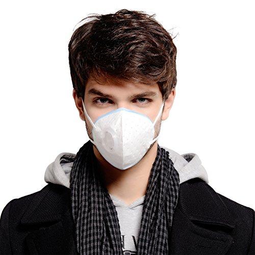 aub Atmungsaktive waschbar Anti-Formaldehyd, Rauch Atemschutzmasken, mit verstellbaren elastischen Gurtel, elektrostatische Baumwolle Material, mit Atemventil(Blau) (Maschere Halloween)