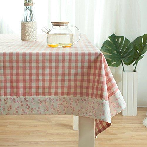 Imperméable nappe Nappe de dentelle minimaliste moderne Nappe en treillis rose frais Toile imperméable en tissu (2 couleurs en option) (taille facultative) pour dîner ( Couleur : B , taille : 140*180cm )