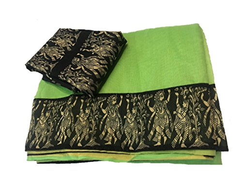 SilverStar Saree With Blouse Piece (Rk Border_Green_Free Size)