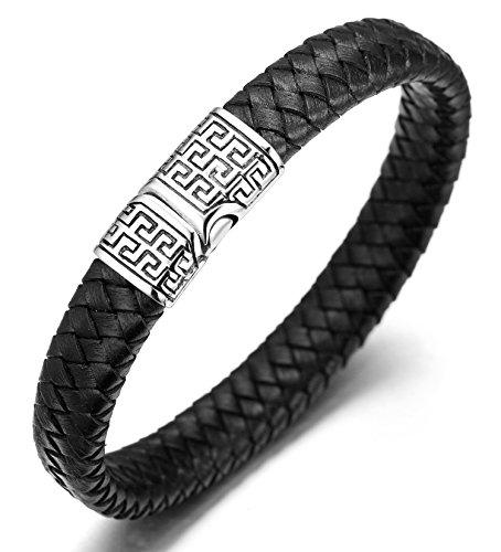 """Halukakah Solo Le Bracelet de l'Homme en Cuir Véritable avec Les Bouttons Titané et Magnétique,8.46""""/ (21.5cm) avec Le Boîte-Cadeau Gratuit(Noir)"""