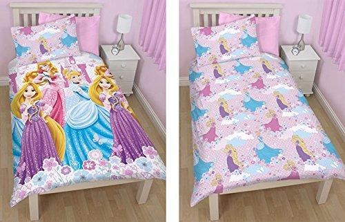 Principesse disney reversibile fiori piumino per letto singolo set