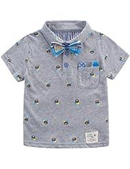 Bebé Niños Camiseta Polos De Verano Infantil Con Mangas Cortas Impresión De Animal Lazo Caballero Guapo Gris