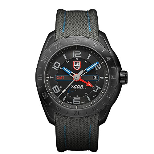 Luminox XCOR Aerospace Steel GMT Men's Quartz watch with Black dial featuring LLT Luminox light Technology 46 millimeters Stainless Steel case and Grey Nylon Strap  XU.5121.GN