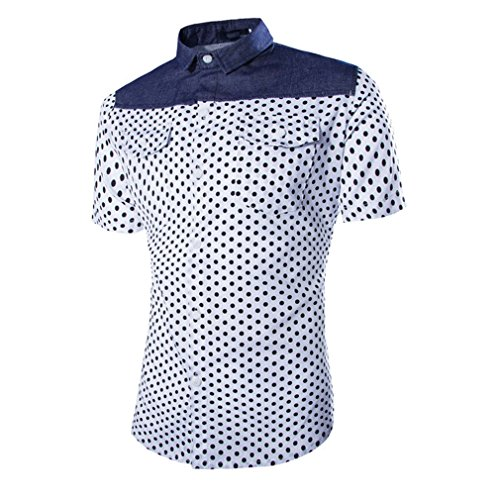Honghu Homme Casual Manches Courtes Chemise Slim Fit Blanc