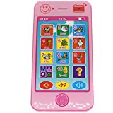 Cooplay Toy Cell Phone Music Touch Screen Mobile Childy Early Education Learning ABC Letters Play Piano Animal Cellphone Like iPhone 5S 6 7 for Baby Kids Sets of 1 (Pink)