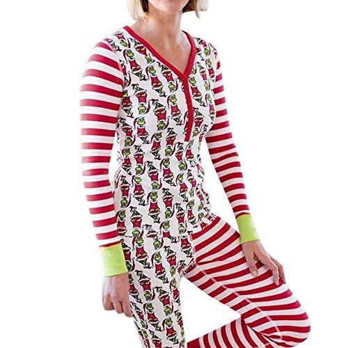 SuperSU Weihnachten Pyjama Set Frauen Kind Dad Erwachsene PJs Fun Nachtwäsche Langarm Xmas Streifen Schlafanzug Sleepwear Sweater Set Familie Kleidung Damen Herren Kinder Mädchen Jungen -