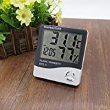 FreshDcart HTC-1 Room Thermometer with Humidity Incubator Meter and Accurate Temperature Indicator Wall Mounting LED Digital Clock Monitor for Indoor/Outdoor (White)