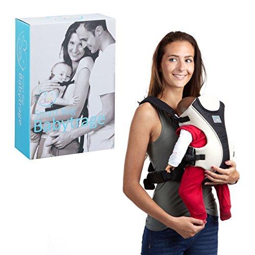 little Choice Babytrage Smart Bag, Bauchtrage f. Säuglinge ab 3 Monate, ergonomische Tragehilfe m. Latz, schwarz-weiß