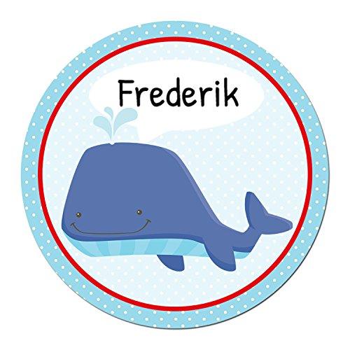 Papierdrachen 24 Individuelle Aufkleber für Kinder - Motiv Wal - Personalisierte Sticker - Schule Einschulung