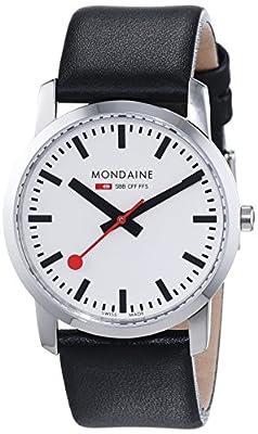 Mondaine SBB Simply Elegant 36mm A400.30351.11SBB Reloj de pulsera Cuarzo Unisex correa de Cuero Negro de Mondaine